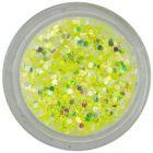 Decoraţiune pentru unghii, hexagoane galben intens în pulbere, 1mm