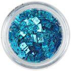 Confetti hologramă, cu gaură - pătrate albastru turcoaz