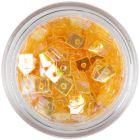 Confetti transparent, cu gaură - pătrate portocalii