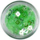 Confetti transparent, cu gaură - pătrate verde deschis