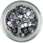 Confetti în formă de flori mici - argintii, hologramă
