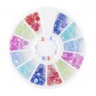 Decorațiuni nail art – strasuri rotunde – culori diverse cu reflexii de curcubeu