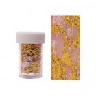 Folie decorativă pentru unghii - aurie cu plasă roz