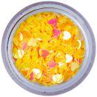 Confetti nail art - inimi galben-aurii