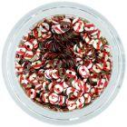 Paiete rotunde în formă de disc - argintii cu dungi roşii