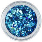 Hexagon nail art turcoaz - holografic