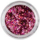 Confetti 1mm - hexagoane cu efect holografic, roz