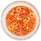 Confetti nail art în formă de floare cu gol în mijloc, portocaliu