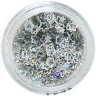 Decoraţiuni hologramă pentru unghii - flori argintii, cu gol în mijloc