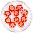 Decorațiuni pentru unghii - strasuri roșii cu flori, cercuri