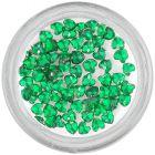 Strasuri unghii - inimi, verde-smarald