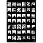 Plăcuţă ştampilare nail art cu modele gravate - 016, XL